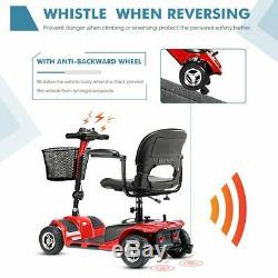 4 Wheel Mobility Scooter Electric Power Mobile Wheelchair for Seniors Adult RED