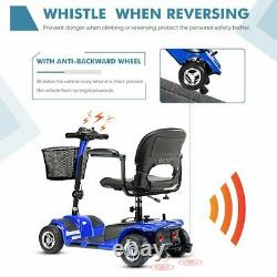 4-Wheeled Electric Mobility Scooter Powered Wheelchair Device Compact for Travel