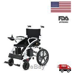 Power Electric Wheelchair Motorized Power Wheelchairs Folds Lightweight (Black)