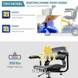 3 Roues Scooter Électrique Powered Dispositif Fauteuil Roulant Voyage, Bleu