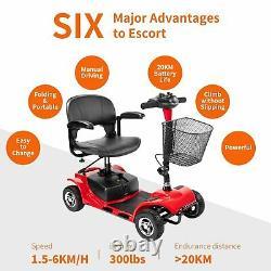 Chaise Roulante Pliante De Scooter De Mobilité Électrique De 4 Roues Des Etats-unis Pour Des Adultes Personnes Âgées Rouges