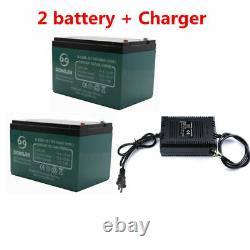 Chargeur 2pc 12v Battery 12ah+ 24v Pour Scooter Électrique Go Kart Fauteuil Roulant E-bike
