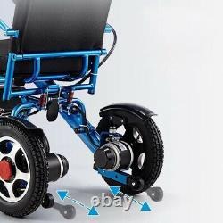 Fauteuil Roulant Électrique, Portable Motorisé Foldable Power Wheelchair Scooter Bleu