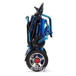 Fauteuil Roulant Électrique, Portable Motorisé Pliable Fauteuil Roulant Électrique Scooter Bleu