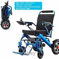 Fauteuil Roulant Électrique, Portable Motorisé Pliable Puissance Fauteuil Roulant Scooter Bleu