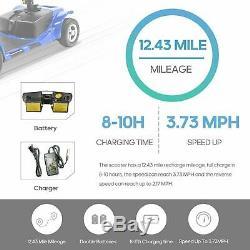 Nouveau 3 Roues Scooter Électrique Mobility Powered Fauteuil Roulant Pliant Mobile Bleu