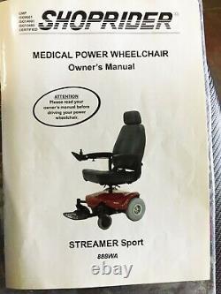 Shoprider Streamer Sport Electric Wheelchair Mobility Scooter Livraison Gratuite